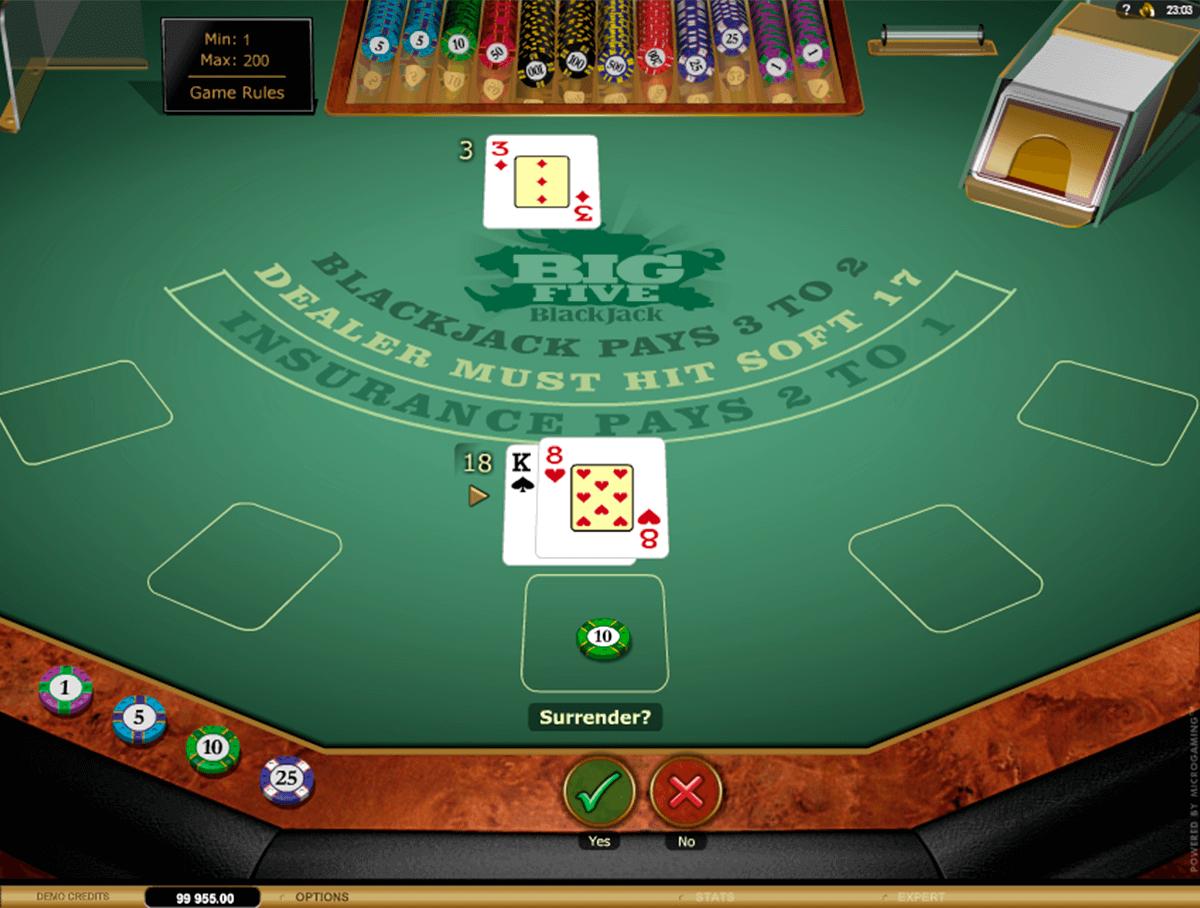 big 5 blackjack gold microgaming online