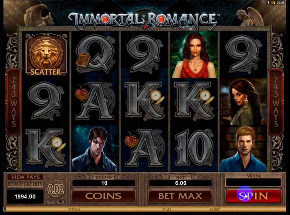 immortal romance slot symbols