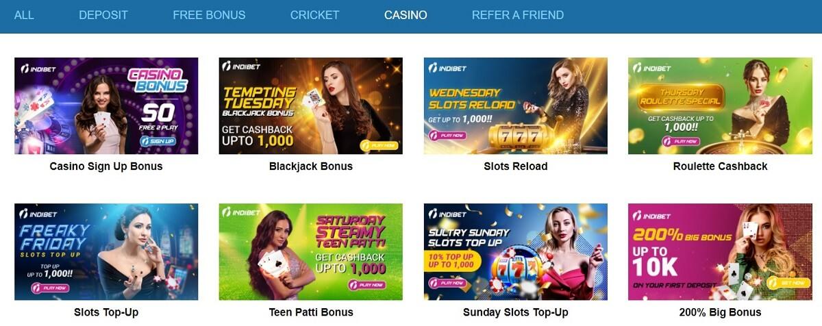 indibet casino bonuses